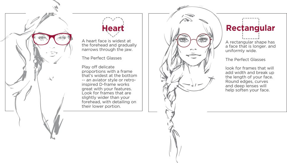 A brief description on the difference between heart shaped glasses and rectangular glasses
