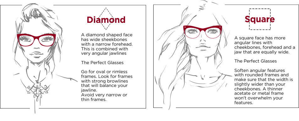 A brief description on the difference between diamond shaped glasses and square shaped glasses